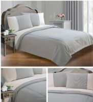 GREY & BLACK COLOUR MINIMALIST STRIPED DESIGN DUVET QUILT COVER SET LUXURY BEDDING